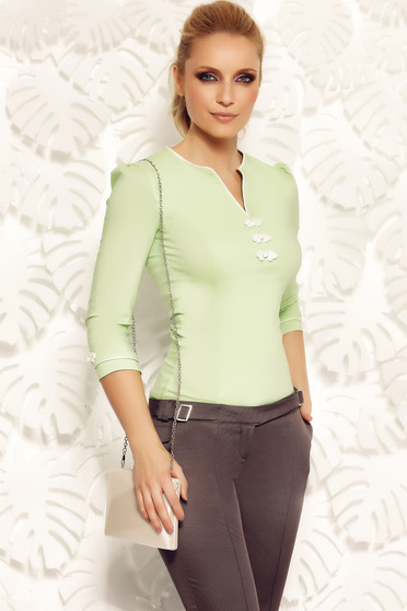 Világos zöld Fofy irodai női ing rugalmas pamut hímzett betétekkel