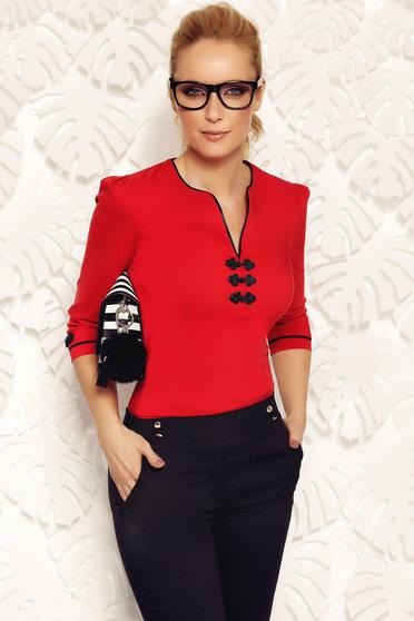 Piros Fofy irodai női ing rugalmas pamut hímzett betétekkel