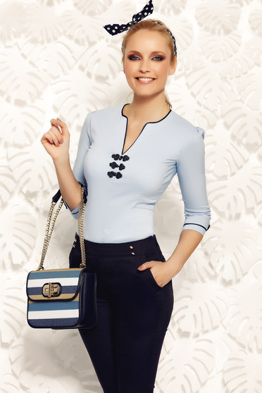 Kék Fofy irodai női ing rugalmas pamut hímzett betétekkel