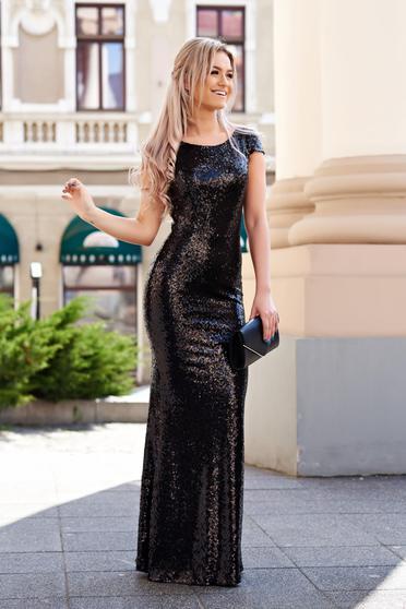 Fekete StarShinerS szirén tipusú alkalmi ruha flitter enyhén rugalmas anyag belső béléssel