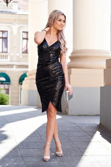 Fekete StarShinerS alkalmi flitteres ruha belső béléssel enyhén rugalmas anyag