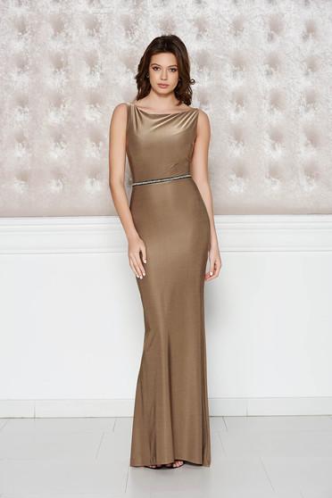 Barna StarShinerS alkalmi ruha fényes anyag rugalmas anyag szirén tipusú