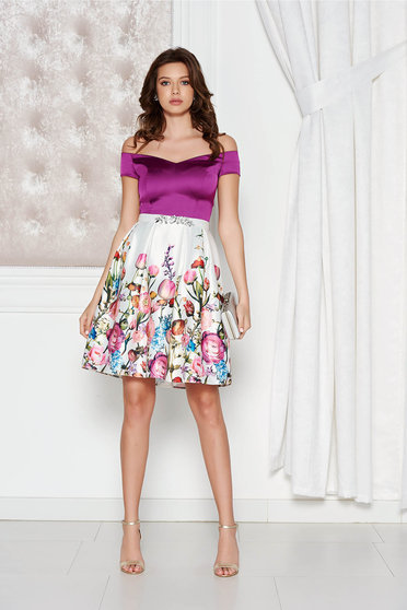Lila StarShinerS alkalmi ruha szatén anyagból belső béléssel strassz köves  kiegészítő c94a31ac23