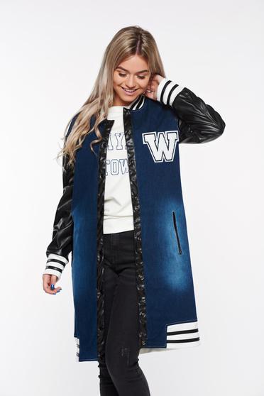 Sötétkék Ocassion dzseki casual pamutból készült műbőr zsebes