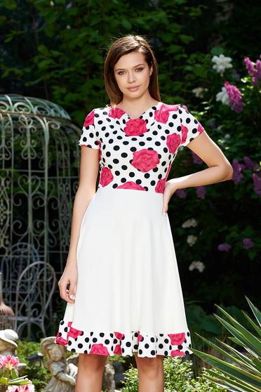 Fehér StarShinerS hétköznapi harang ruha enyhén rugalmas anyag virágmintás díszítéssel