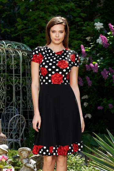 Fekete StarShinerS hétköznapi harang ruha enyhén rugalmas anyag virágmintás díszítéssel