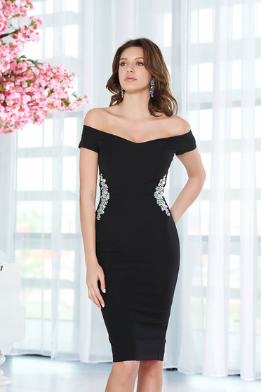 Fekete StarShinerS ruha elegáns ceruza enyhén rugalmas anyag belső béléssel strassz köves díszítés