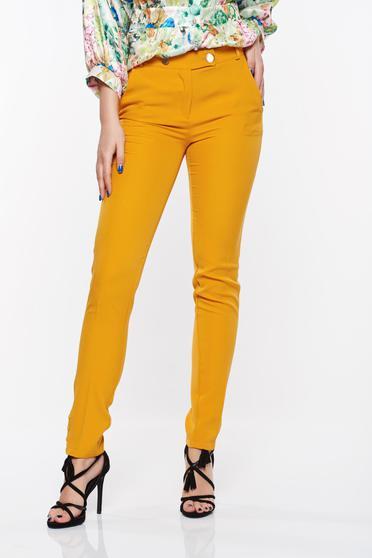 Mustar PrettyGirl nadrág irodai kónikus enyhén elasztikus szövet zsebes