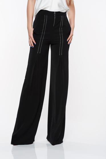 Fekete PrettyGirl elegáns nadrág magas derekú bővülő zsebes lenge anyagból