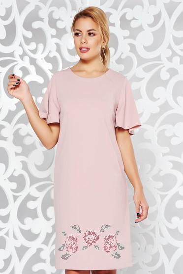 Rózsaszínű StarShinerS elegáns bő szabású hímzett ruha rugalmas anyag