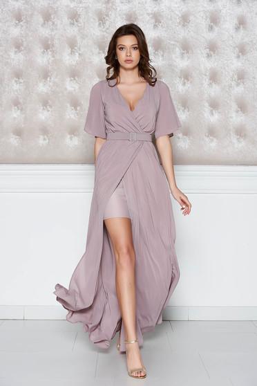 Lila StarShinerS alkalmi ruha belső béléssel fátyol anyag derékban rugalmas