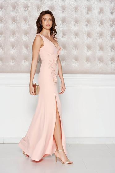 Barackvirágszínű StarShinerS alkalmi ruha enyhén elasztikus szövet belső béléssel virágos díszek 3d effekt