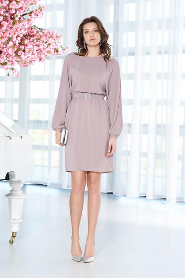 Lila StarShinerS bő szabású alkalmi ruha belső béléssel fátyol anyagból