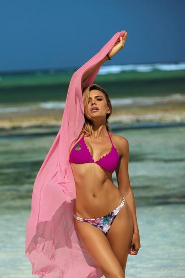 Pink fürdőruha háromszög melltartóval brazil alsóval flitteres díszítés a melltartó szivacsa eltávolítható