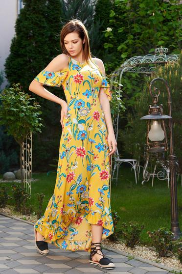Sárga StarShinerS hétköznapi aszimetrikus ruha kivágott vállrésszel vékony anyag virágmintás díszítéssel