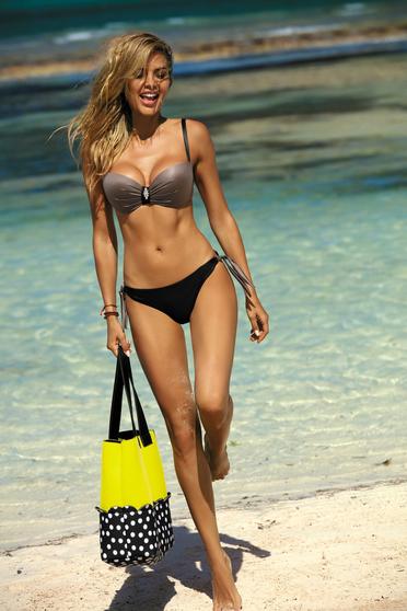 Barna brazil alsóval állítható bikinivel eltávolítható pántok állítható pántok fürdőruha