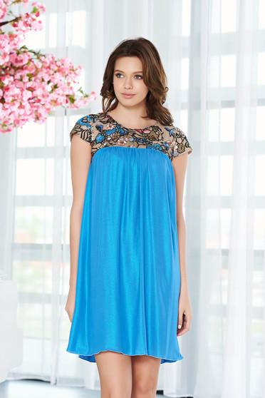 Kék StarShinerS alkalmi bő szabású ruha lenge anyagból belső béléssel
