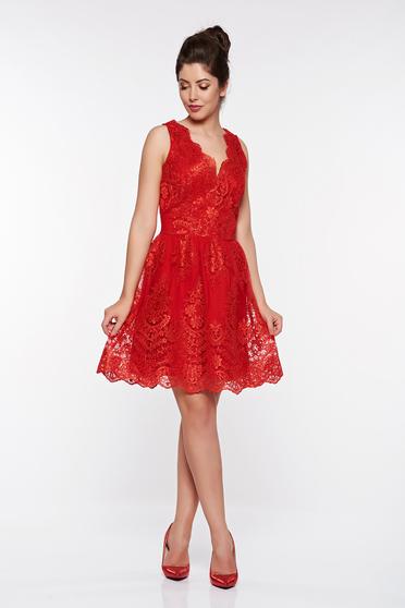 Piros LaDonna alkalmi harang ruha csipkés anyagból belső béléssel