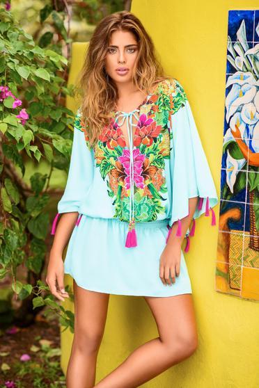 Kék Cosita Linda bő szabású strandi ruha zsinórral van ellátva