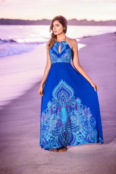Kék Cosita Linda strandi ruha lenge anyagból derékban rugalmas