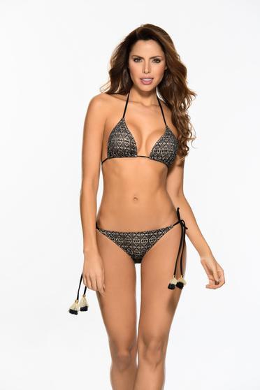 Fekete Cosita Linda fürdőruha háromszög melltartóval bojtos szivacsos mellrész állítható bikinivel brazil alsóval