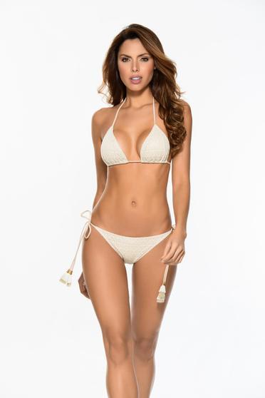 Bézs Cosita Linda fürdőruha háromszög melltartóval állítható bikinivel szivacsos mellrész bojtos