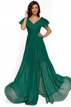 Zöld alkalmi ruha fátyol anyag belső béléssel fodros