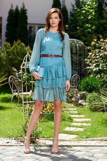 Világoskék StarShinerS ruha hétköznapi lenge anyagból belső béléssel fodros