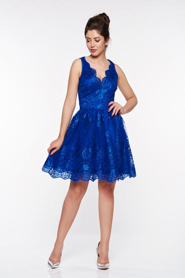 Kék LaDonna alkalmi harang ruha csipkés anyagból belső béléssel
