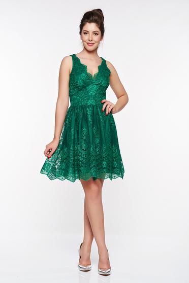 Zöld LaDonna alkalmi harang ruha csipkés anyagból belső béléssel