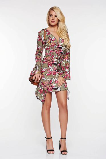 Kaki PrettyGirl hétköznapi aszimetrikus ruha lenge anyagból szatén anyagból övvel ellátva