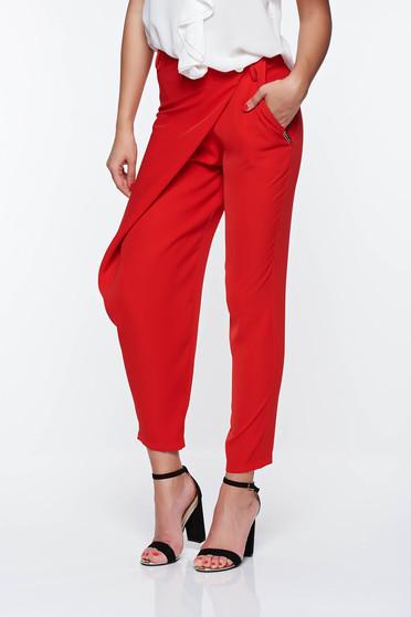Piros PrettyGirl elegáns nadrág normál derekú lenge anyagból zsebes