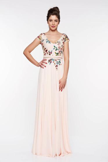 Rózsaszínű LaDonna hímzett alkalmi ruha belső béléssel lenge anyagból