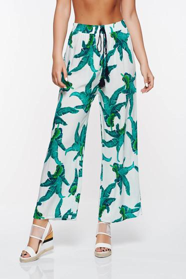 Zöld SunShine casual bő szabás nadrág derékban rugalmas pamutból készült