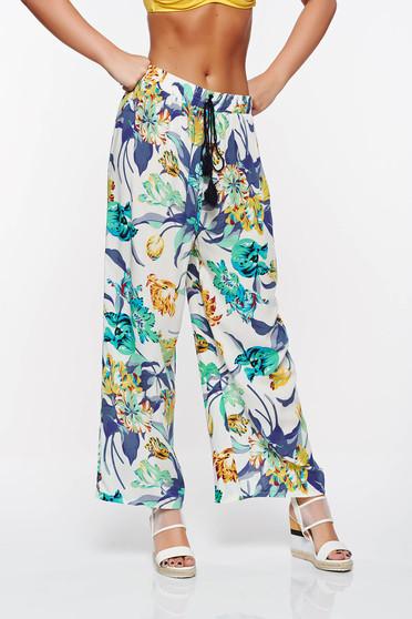 Kék SunShine casual bő szabásu nadrág derékban rugalmas pamutból készült