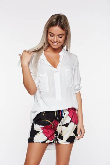 Fehér SunShine casual bő szabású női ing nem rugalmas anyag lenge anyagból elől zsebek