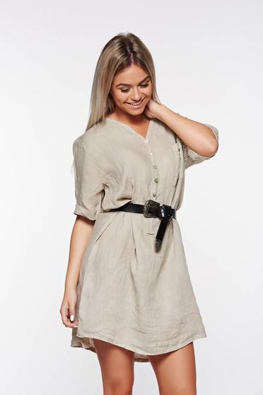Krém SunShine casual bő szabású vászon női ing v-dekoltázzsal