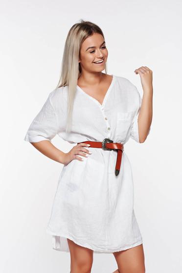 Fehér SunShine casual bő szabású vászon női ing v-dekoltázzsal