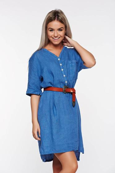 Kék SunShine casual bő szabású vászon női ing v-dekoltázzsal