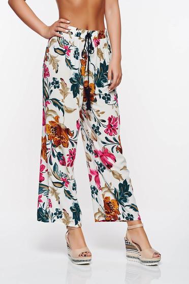 Rózsaszínű SunShine casual bő szabás nadrág derékban rugalmas pamutból készült