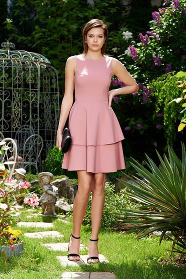 Rózsaszínű StarShinerS elegáns harang ruha enyhén elasztikus szövet fodros