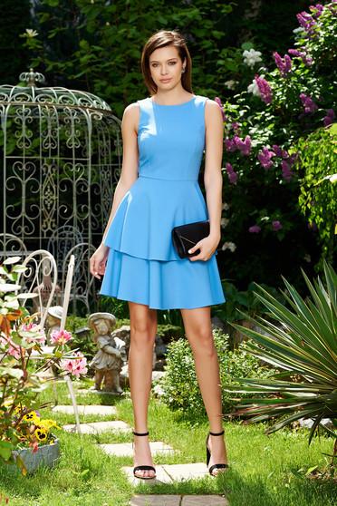 Kék StarShinerS elegáns harang ruha enyhén elasztikus szövet fodros