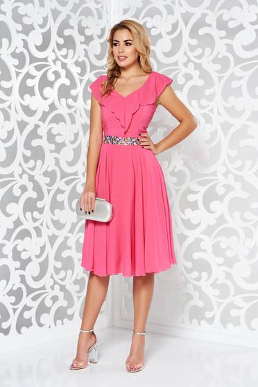 Fukszia StarShinerS ruha elegáns harang fátyol belső béléssel övvel ellátva  strassz köves kiegészítő 382ec23c97