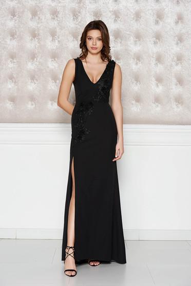 Fekete StarShinerS alkalmi ruha enyhén elasztikus szövet belső béléssel virágos díszek 3d effekt