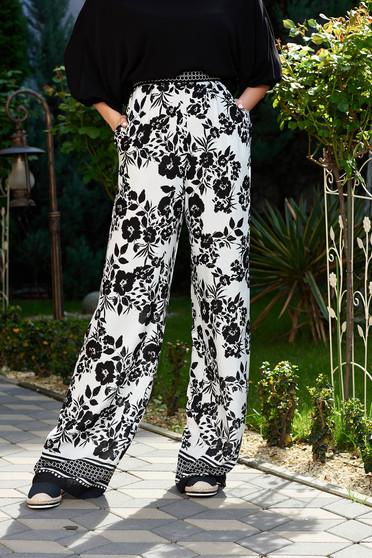 Fekete StarShinerS casual bővülő nadrág magas derekú lenge anyagból zsebes