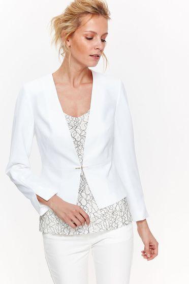 Fehér Top Secret blézer elegáns szűkített belső béléssel finom tapintású anyag