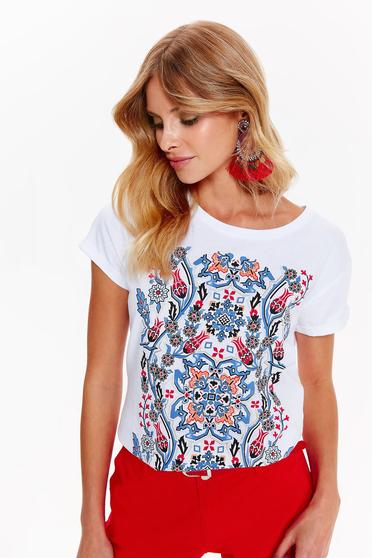 Fehér Top Secret casual pamutból készült bő szabás póló nyomtatott mintával