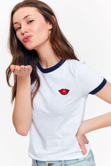 Fehér Top Secret casual szűk szabású póló enyhén elasztikus pamut