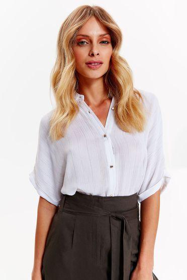 Fehér Top Secret irodai bő szabású pamutból készült női ing rövid ujjú