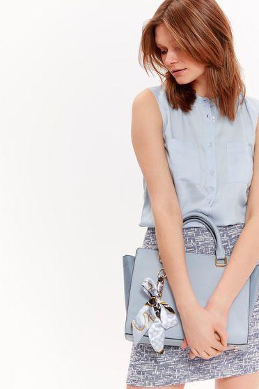 Világoskék Top Secret bő szabású ujjatlan női ing lenge anyagból